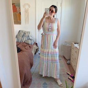 NWT! Urban Outfitters Linen Ruffle Maxi Dress